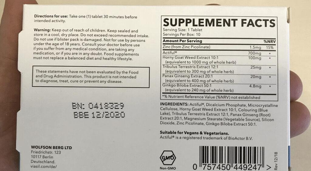 Viasil ingredients