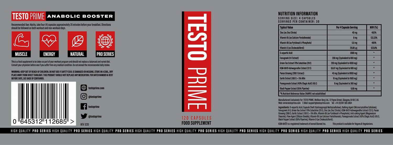 Testo Prime ingredients